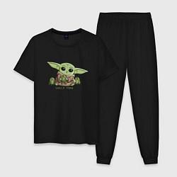 Пижама хлопковая мужская Время перекуса цвета черный — фото 1