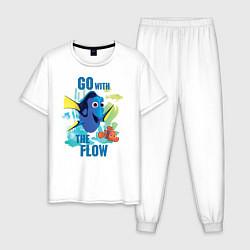 Пижама хлопковая мужская Go With The Flow цвета белый — фото 1