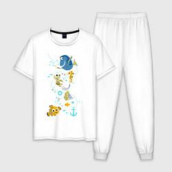 Пижама хлопковая мужская В Поисках Немо цвета белый — фото 1
