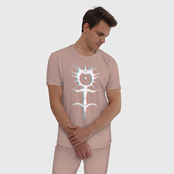 Пижама хлопковая мужская GHOSTEMANE GLITCH цвета пыльно-розовый — фото 2