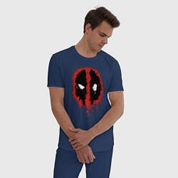 Пижама хлопковая мужская Deadpool logo цвета тёмно-синий — фото 2