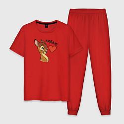 Пижама хлопковая мужская Люблю цвета красный — фото 1