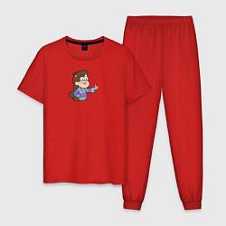 Пижама хлопковая мужская Мэйбл Пайнс цвета красный — фото 1