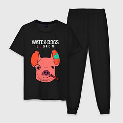 Пижама хлопковая мужская WATCH DOGS LEGION цвета черный — фото 1