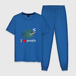 Пижама хлопковая мужская Добрая пиранья цвета синий — фото 1
