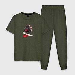 Пижама хлопковая мужская Watch Dogs:Legion цвета меланж-хаки — фото 1