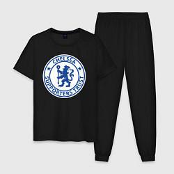 Пижама хлопковая мужская Chelsea FC цвета черный — фото 1