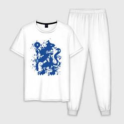 Пижама хлопковая мужская Chelsea FC цвета белый — фото 1