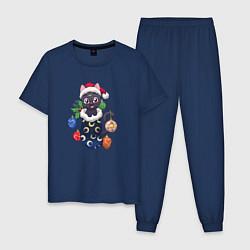 Пижама хлопковая мужская Christmas Luna Cat цвета тёмно-синий — фото 1