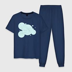 Пижама хлопковая мужская Музыка в парке цвета тёмно-синий — фото 1