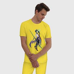 Пижама хлопковая мужская Сяо Genshin Impact цвета желтый — фото 2