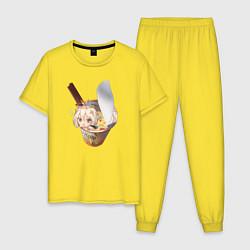 Пижама хлопковая мужская Paimon - Genshin Impact цвета желтый — фото 1