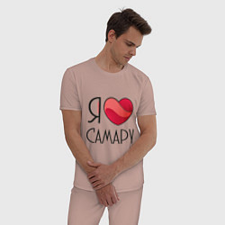 Пижама хлопковая мужская Я люблю Самару цвета пыльно-розовый — фото 2