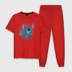 Пижама хлопковая мужская Стич цвета красный — фото 1