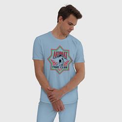 Пижама хлопковая мужская Akhmat Fight Club цвета мягкое небо — фото 2
