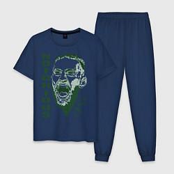 Пижама хлопковая мужская Конор МакГрегор цвета тёмно-синий — фото 1