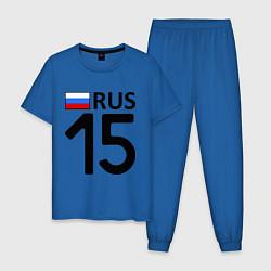 Пижама хлопковая мужская RUS 15 цвета синий — фото 1
