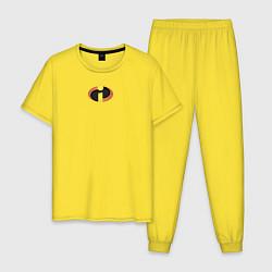 Пижама хлопковая мужская The Incredibles цвета желтый — фото 1