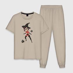 Пижама хлопковая мужская The Incredibles цвета миндальный — фото 1