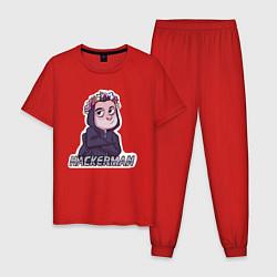 Пижама хлопковая мужская Mr Robot цвета красный — фото 1