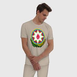 Пижама хлопковая мужская Азербайджан цвета миндальный — фото 2