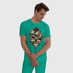 Пижама хлопковая мужская Snake&Skull цвета зеленый — фото 2