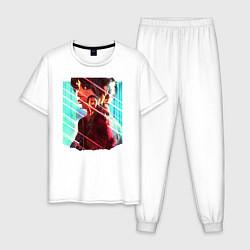 Пижама хлопковая мужская Бегущий по лезвию цвета белый — фото 1
