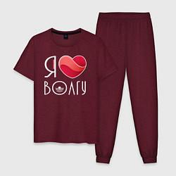 Пижама хлопковая мужская Я люблю Волгу цвета меланж-бордовый — фото 1