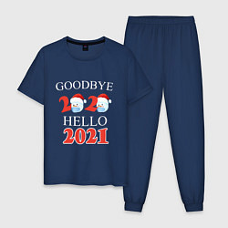 Пижама хлопковая мужская Goodbye 2020 hello 2021 цвета тёмно-синий — фото 1