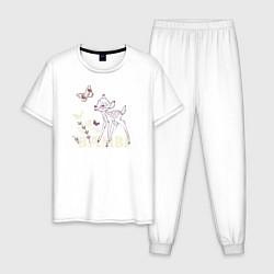 Пижама хлопковая мужская Bambi цвета белый — фото 1