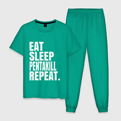 Пижама хлопковая мужская EAT SLEEP PENTAKILL REPEAT цвета зеленый — фото 1