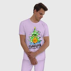 Пижама хлопковая мужская С Новым Годом цвета лаванда — фото 2