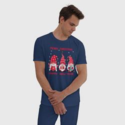 Пижама хлопковая мужская Новогодние гномы цвета тёмно-синий — фото 2