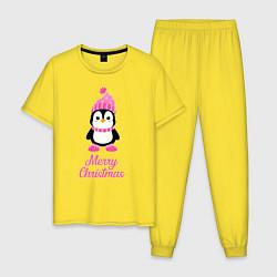 Пижама хлопковая мужская Пингвин цвета желтый — фото 1