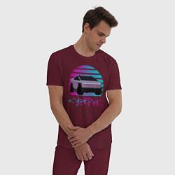 Пижама хлопковая мужская Cybertruck Aesthetics цвета меланж-бордовый — фото 2