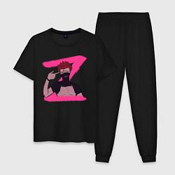 Пижама хлопковая мужская Zora цвета черный — фото 1