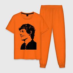 Пижама хлопковая мужская Эван Питерс цвета оранжевый — фото 1