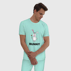Пижама хлопковая мужская Милый зайка цвета мятный — фото 2