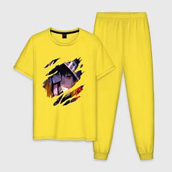 Пижама хлопковая мужская Кен Канеки цвета желтый — фото 1