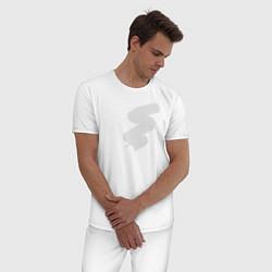 Пижама хлопковая мужская Прозрачность цвета белый — фото 2