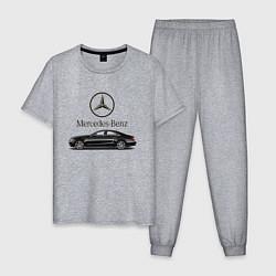 Пижама хлопковая мужская Mersedes-Benz цвета меланж — фото 1