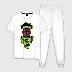 Пижама хлопковая мужская Зомби на прицеле цвета белый — фото 1