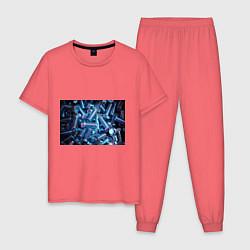 Пижама хлопковая мужская Механик цвета коралловый — фото 1