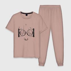 Пижама хлопковая мужская Absurd 2 цвета пыльно-розовый — фото 1