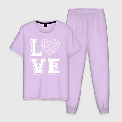 Пижама хлопковая мужская Любовь и геометрическое сердце цвета лаванда — фото 1