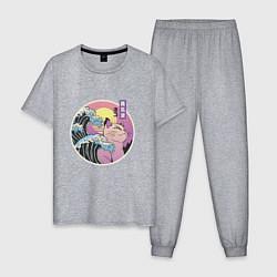 Пижама хлопковая мужская Vaporwave Sunset Кот Самурай цвета меланж — фото 1