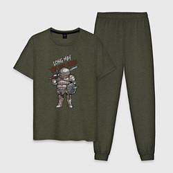 Пижама хлопковая мужская Dark Souls - Siegward цвета меланж-хаки — фото 1