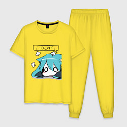 Пижама хлопковая мужская Грусть цвета желтый — фото 1