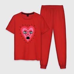 Пижама хлопковая мужская Сердце цвета красный — фото 1