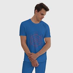 Пижама хлопковая мужская Куб метатрона геометрия цвета синий — фото 2